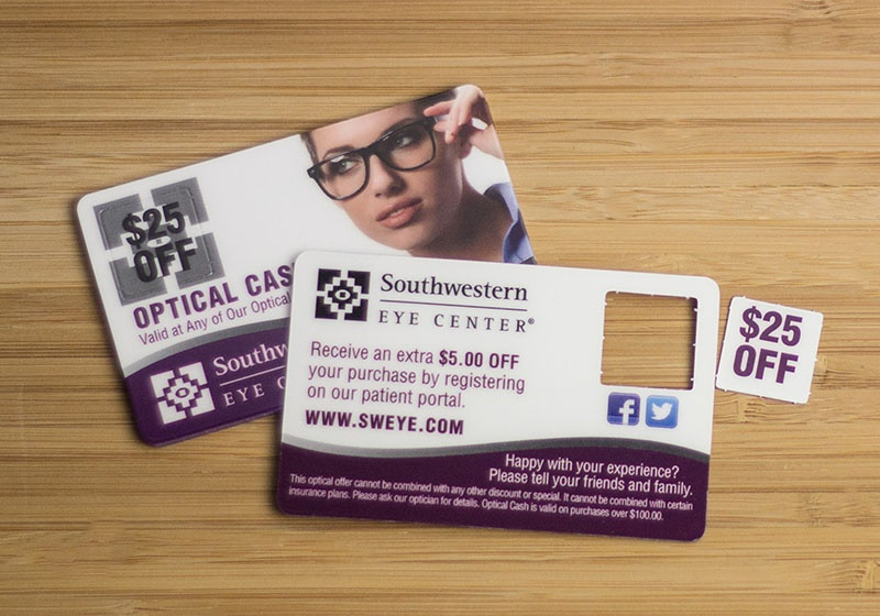 Optometry business cards vip cards gift cards and more optometry business card pop out cards colourmoves Images