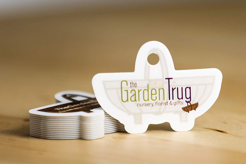 Custom die cut business cards plastic printers inc basket shaped with hole reheart Choice Image