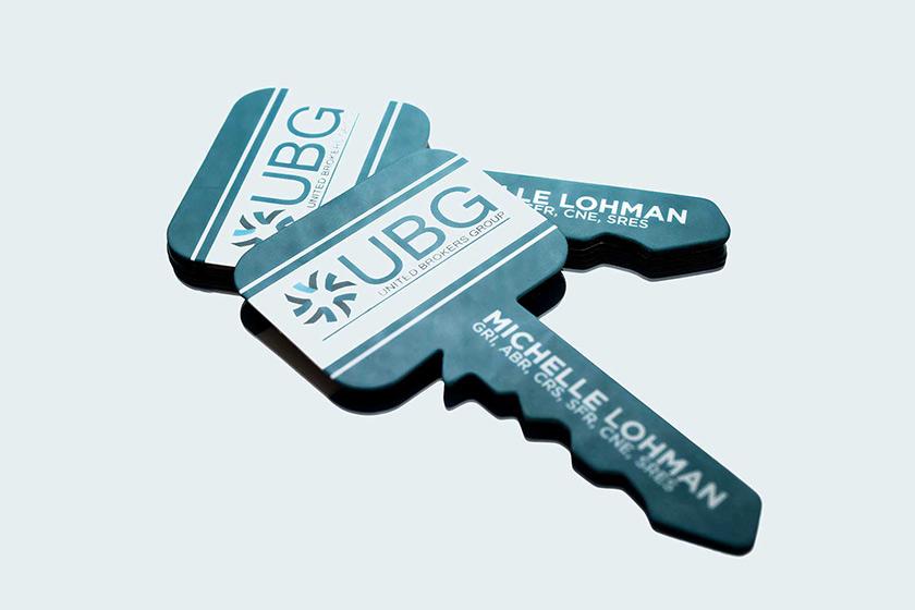 Custom die cut business cards plastic printers inc key shaped reheart Choice Image
