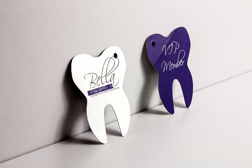 Custom die cut business cards plastic printers inc tooth shaped teeth reheart Choice Image