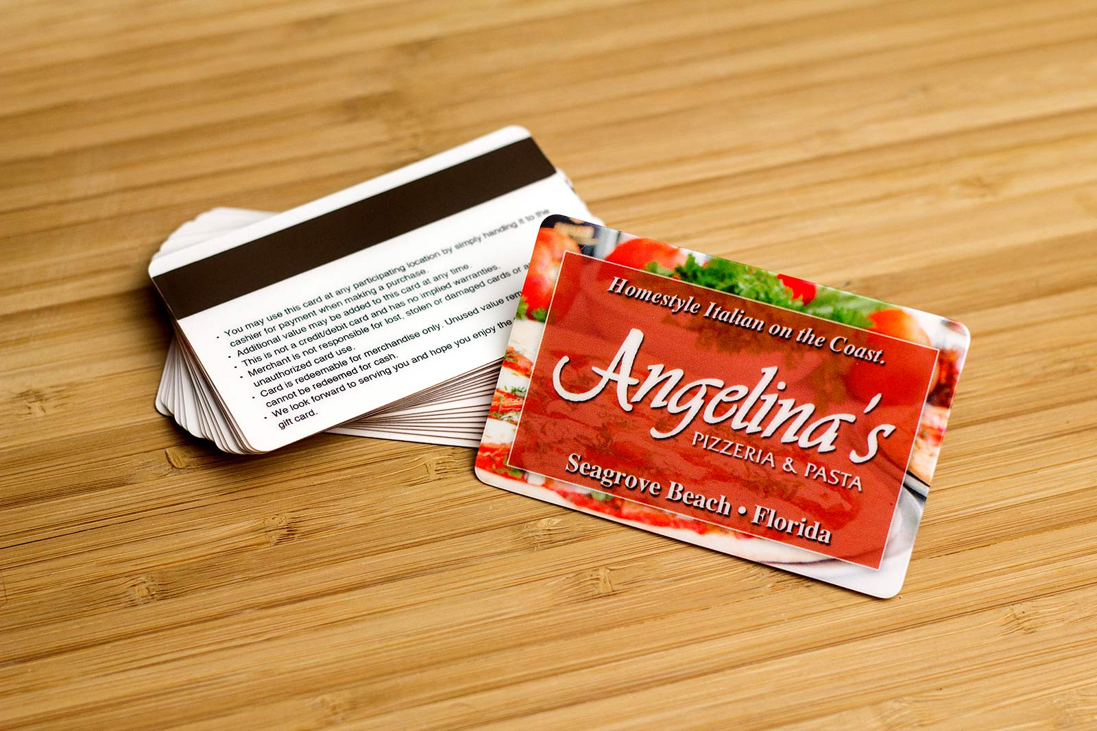 Restaurant gift cards plastic printers not sure how to make it all come together our design experts will work with you to create a custom gift card that you and your customers will love xflitez Images