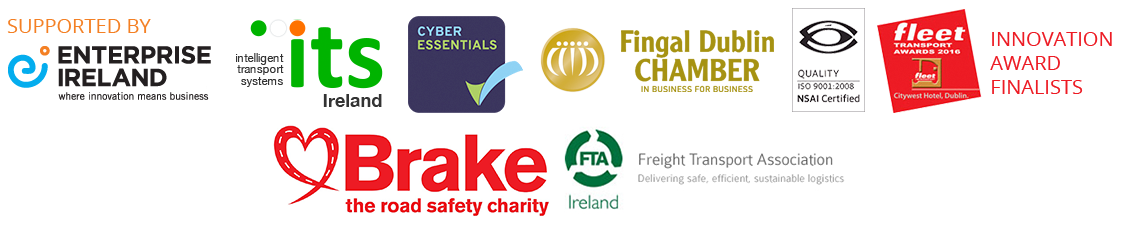 Enterprise Ireland, Intelligent Transport System, Cyber Essentials, Fingal Dublin Chamber, ISO9001 Certified, Fleet Transport Awards 2016, Brake - the road  safety charity, Freight Transport Association,