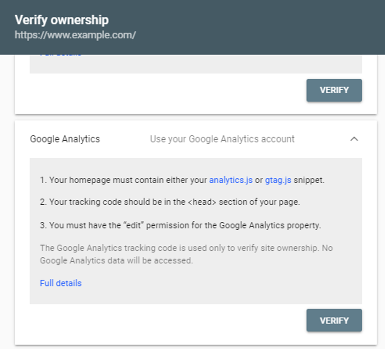 google console verify ownership