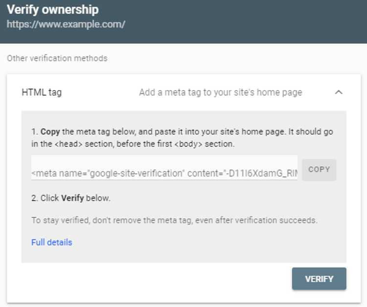 google search console verify domain