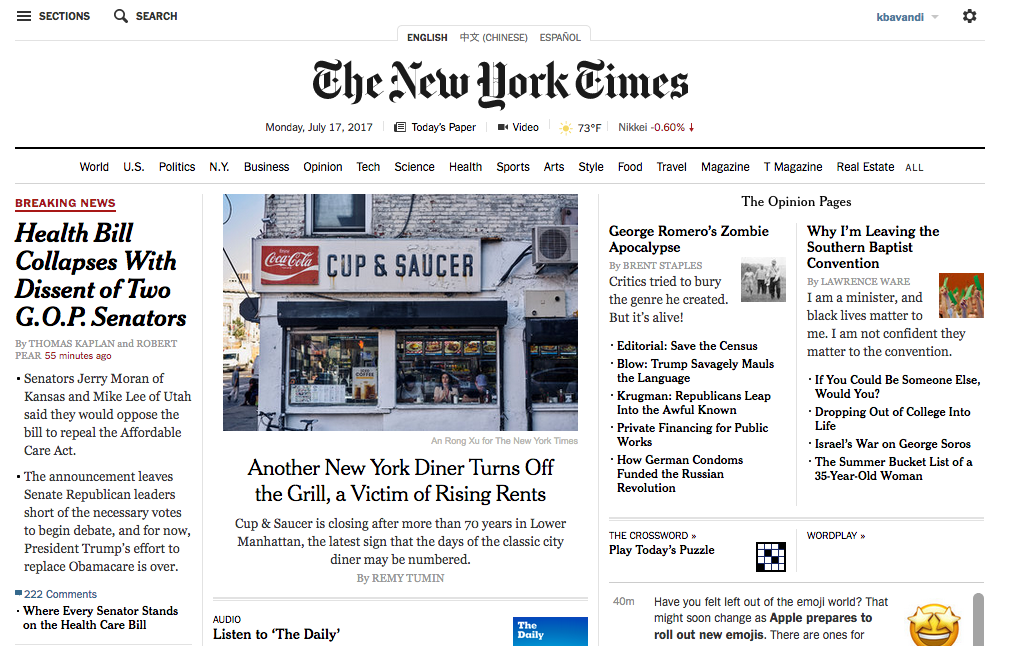 NYTime Front Page