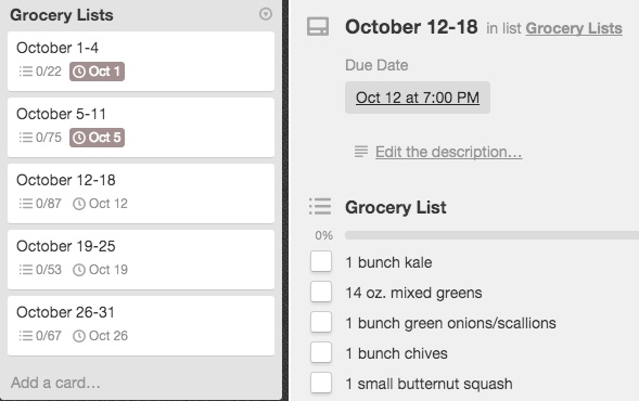 lists grocery