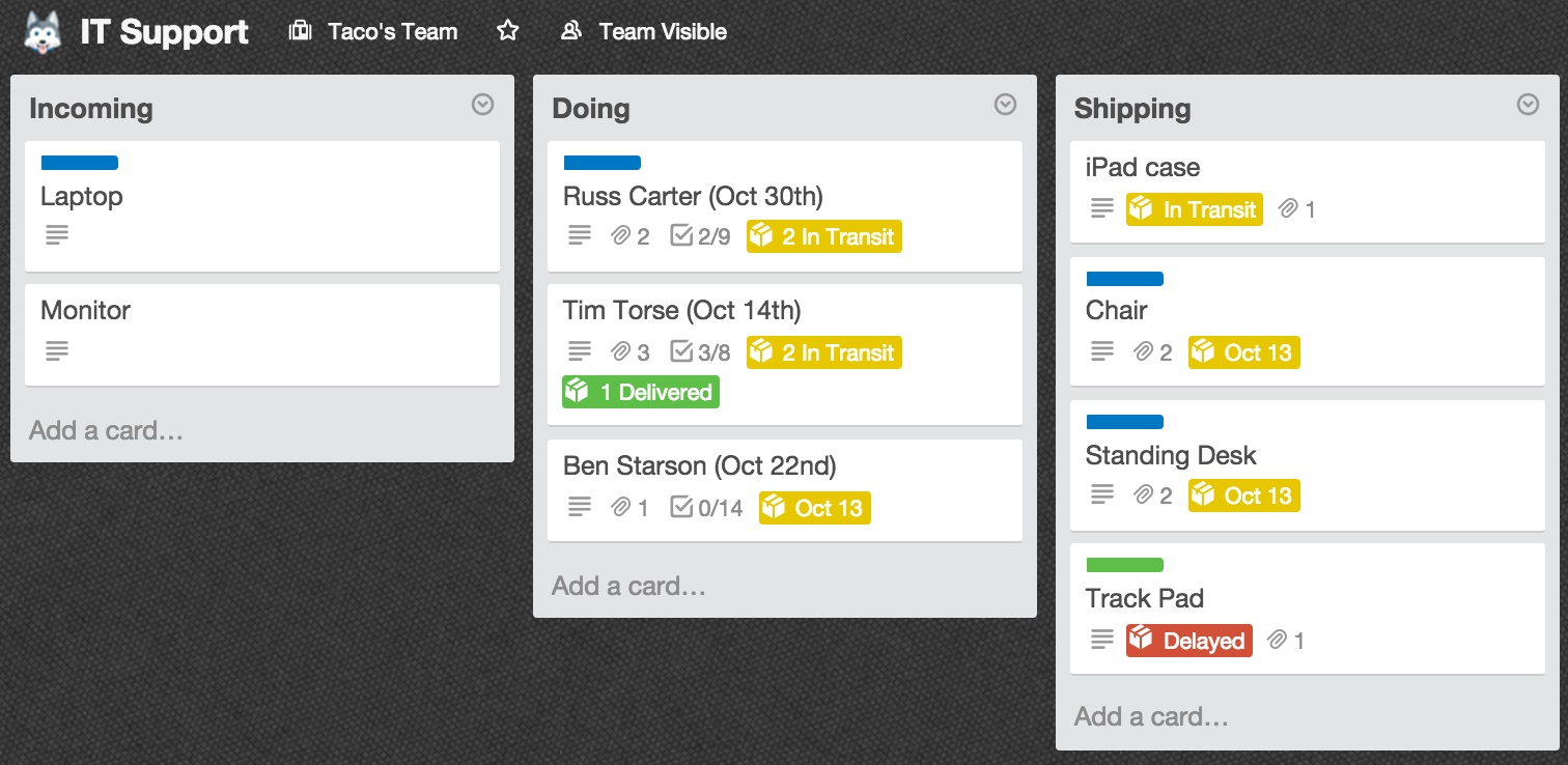 A New Way To Ship! Package Tracking In Trello: FedEx, UPS