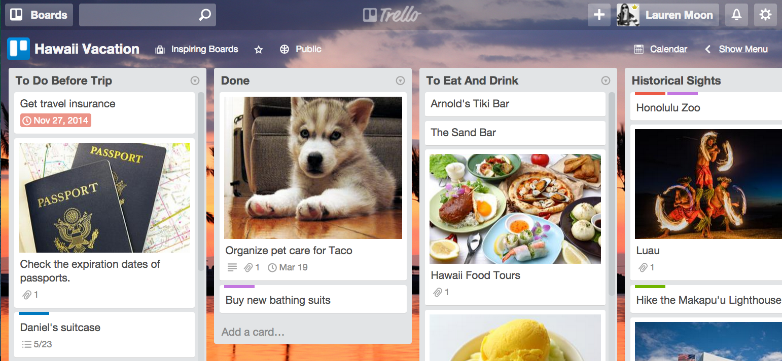 plan a vacation with trello all a board