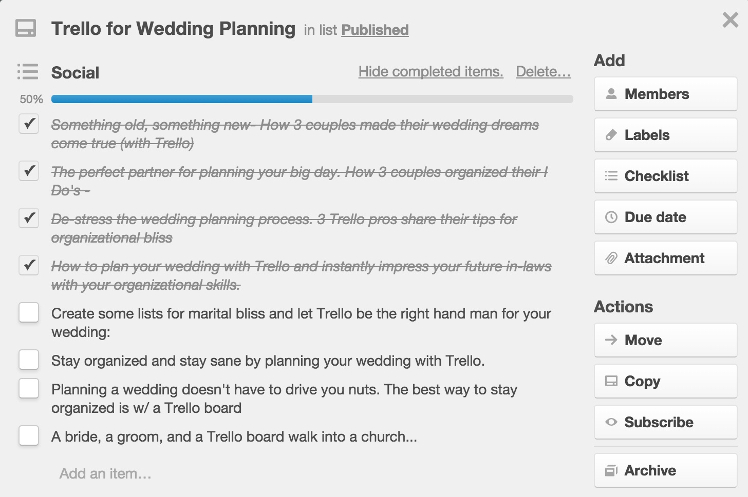 Moved To Published Using Trello As An Editorial Calendar – Sample Marketing Calendar