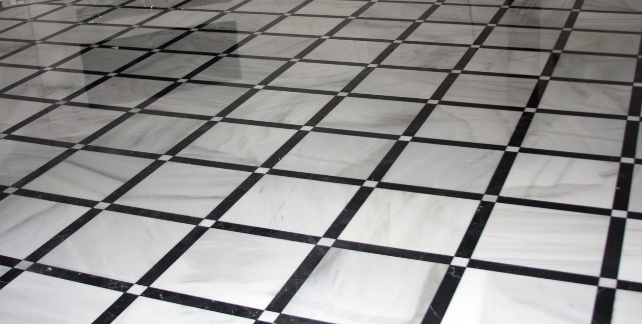 Black And White Marble Tile : Black and white marble floor tiles