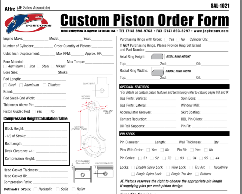 5 Key Tips To Speed Up Your Custom Piston Order!