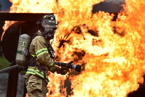 firefighter at combustible dust explosion