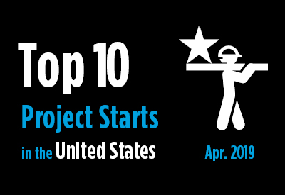Top 10 project starts in the U.S. - April 2019 Graphic