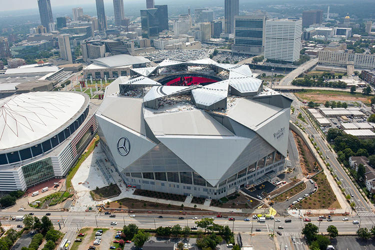 Top 5 coolest buildings of 2017 for Mercedes benz stadium roof