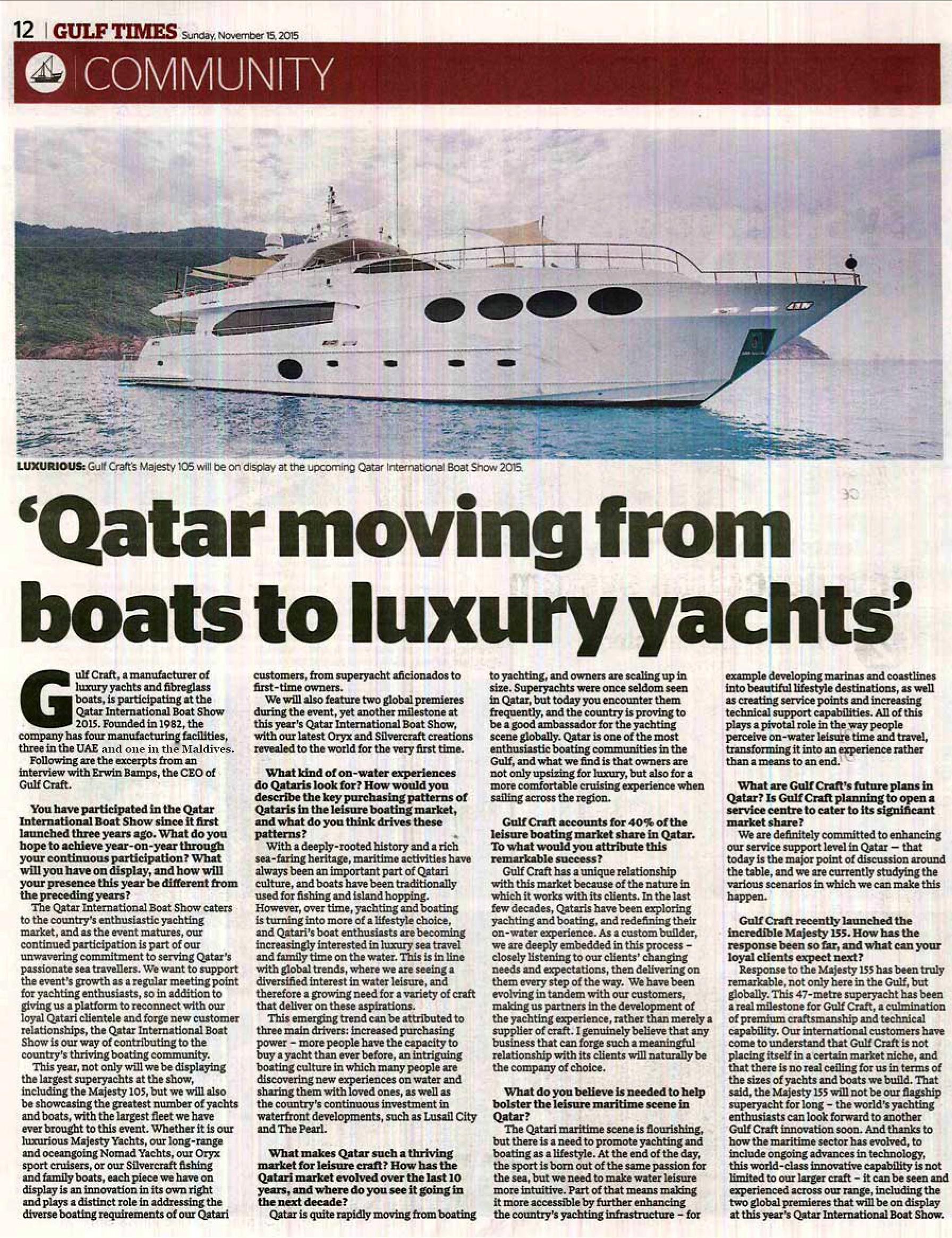 Gulf Craft Q&A with Gulf Times