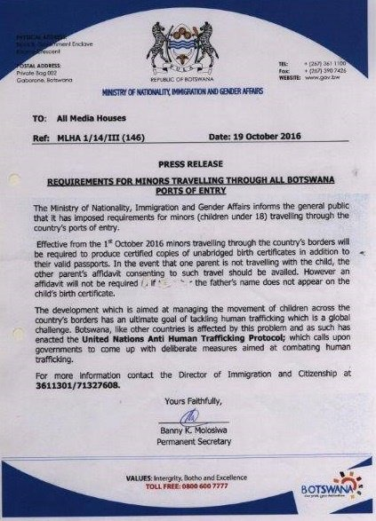 the following documents will be required when travelling to botswana with minors