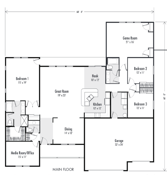 3 Ranch Style Custom Home Plans Over 2,000 Square Feet