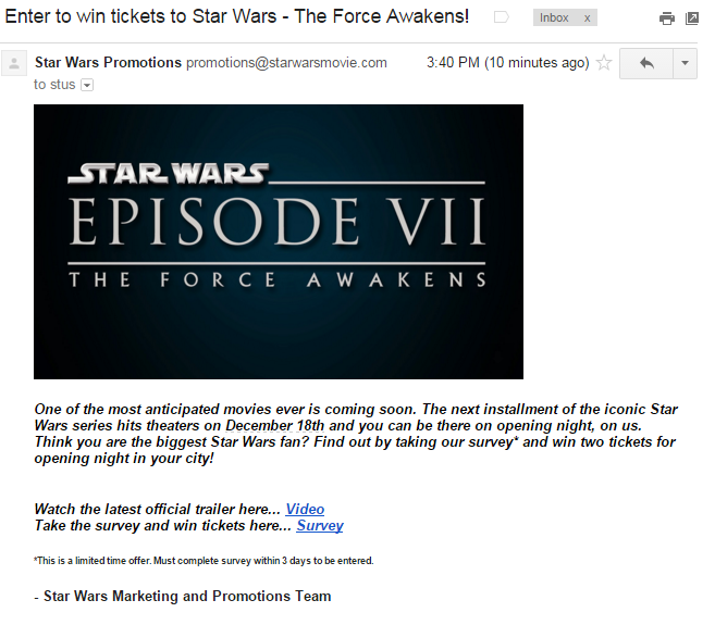 Scam Of The Week Enter To Win Tickets To Star Wars – Winning Ticket Template