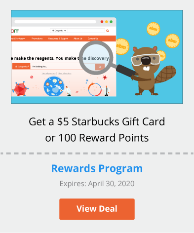 Get a $5 Starbucks Gift Card or 100 Reward Points