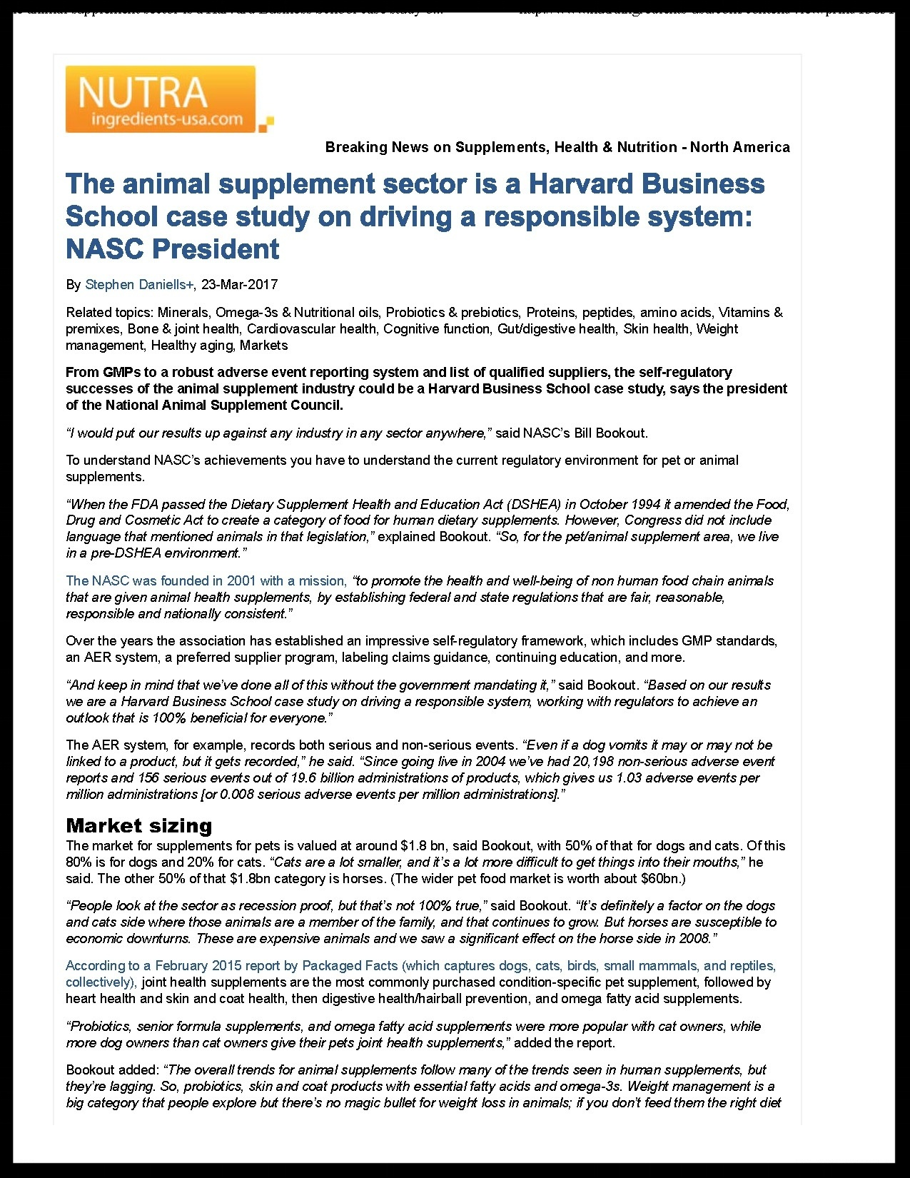 NASC in the Media: Bill Bookout Talks Animal Supplements