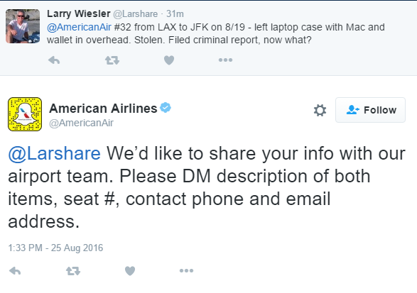 customer service American Airlines twitter marketing complaint