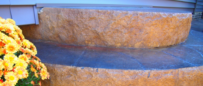 Beautiful Stamp Concrete Steps; Color Splashed Decorative Concrete, Stamped Cement, affordable alternative to pavers. Contractor installer Mentor, Chardon, Kirtland, Willoughby, Concord, Mayfield, Lyndhurst, Highland Heights, Pepper Pike, Beachwood, Solon, Wickliffe, Cleveland 44092 44095 44060 44077 44143 Ohio