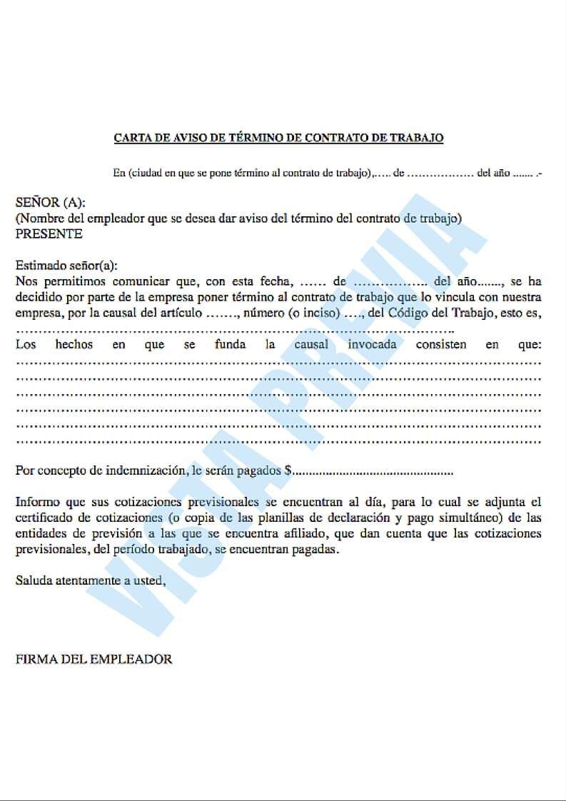 Modelo de carta de aviso de término de contrato de trabajo
