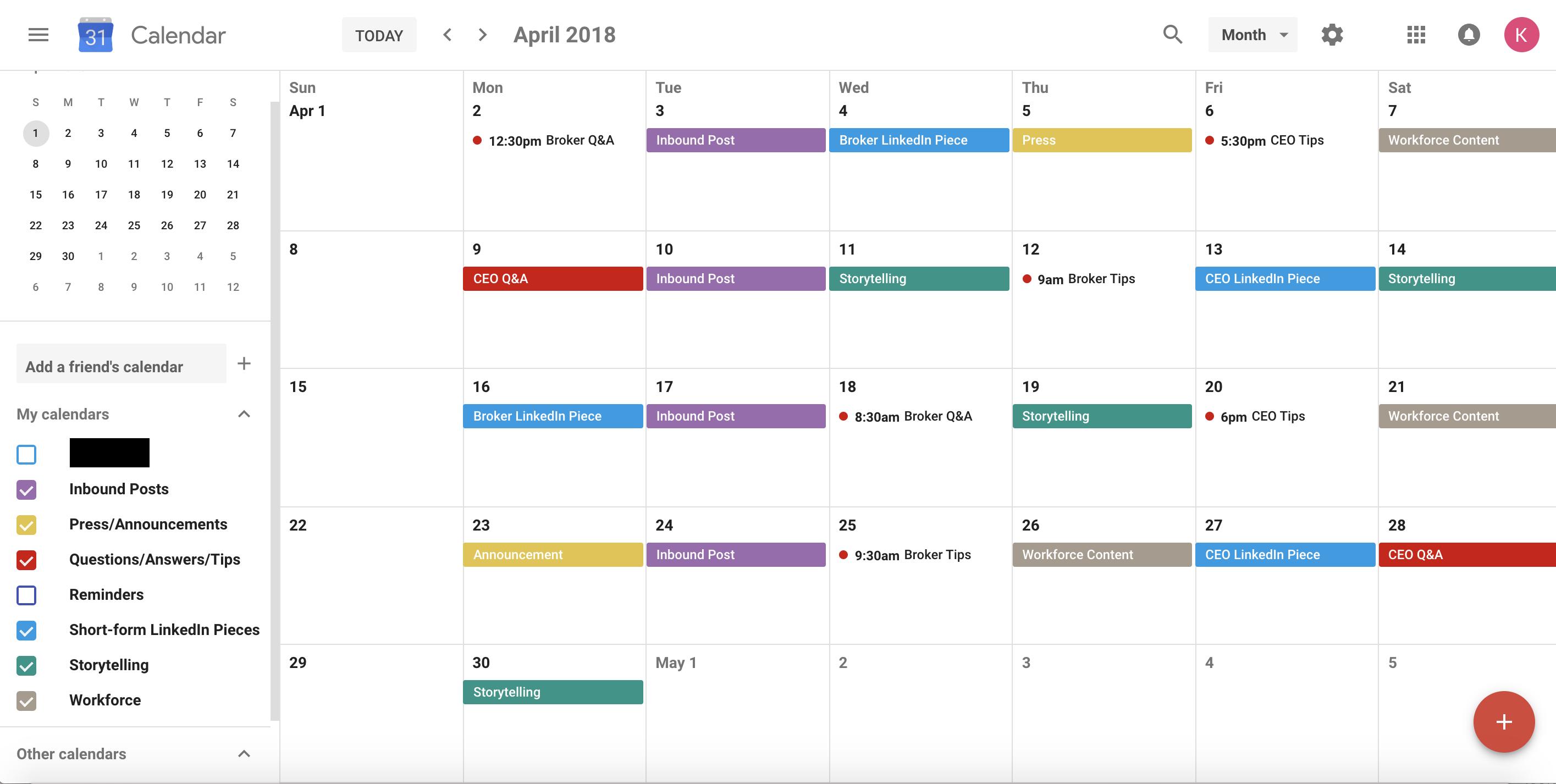 google calendar as content calendar
