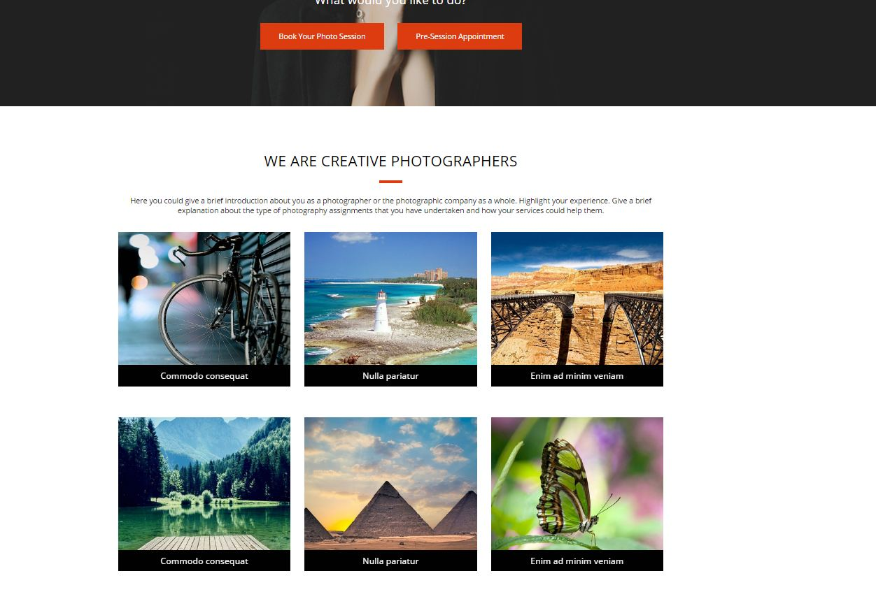 visuals in photography landing page
