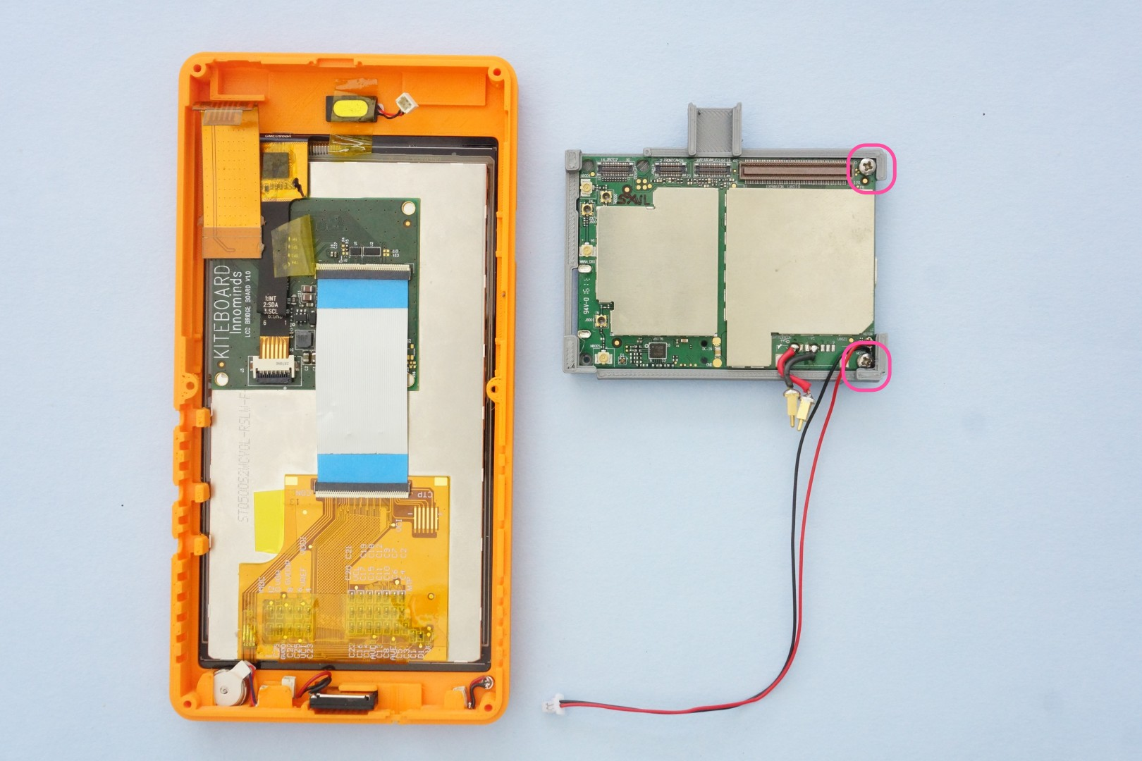 Building Poorna Your First Kitephone Electronic Components Including Circuit Boards Sit In A Pile Before Kite Includes An 8 Mp Autofocus Camera Module The Board Holder Has Slot Designed For Sits Inside