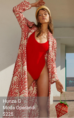 red one-piece swimsuit from Hunza G