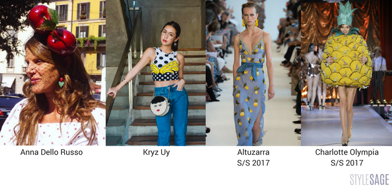 Anna Dello Russo in a cherry headpiece, Kryz Uy wearing a banana top, Alturazza S/S 2017 and Charlotte Olympia S/S 2017