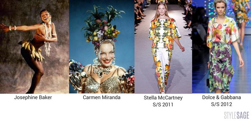 Josephine Baker, Carmen Miranda, Stella McCartney S/S 2011 and Dolce & Gabbana S/S 2012