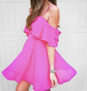 example of a spring pink graduation dress