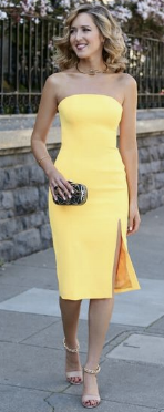 example of a spring yellow graduation dress