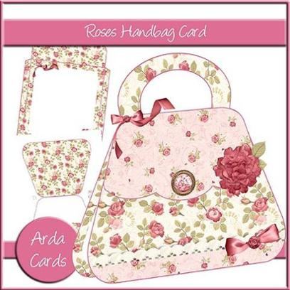 Buy our printable vintage rose handbag card kit