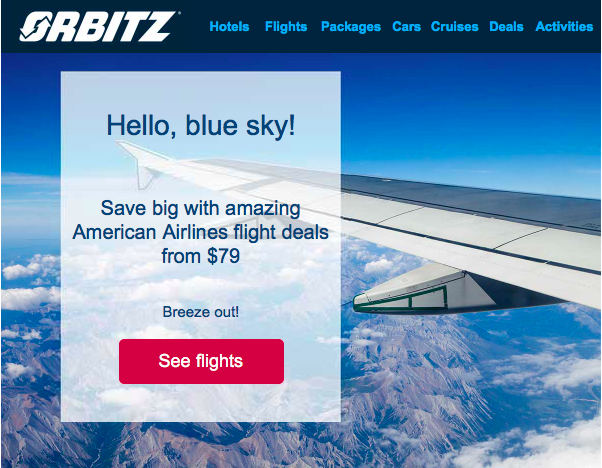 Example of demand generation tactic using an email about a sale for airline tickets.