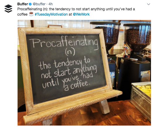 Example of social media post from Buffer showing strong brand personality.