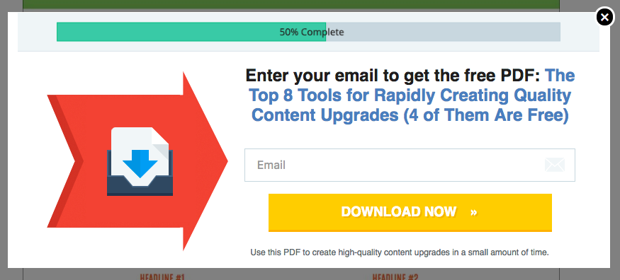 An email list opt-in.