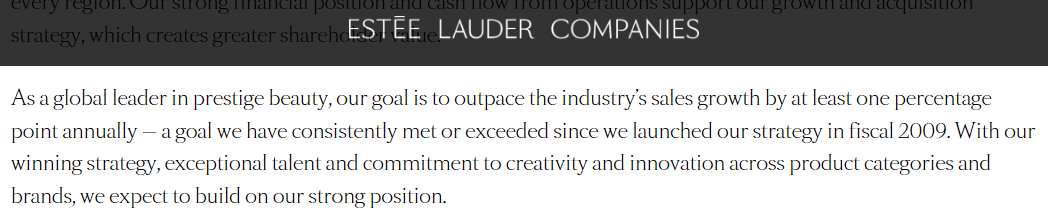 Estee Lauder investpr proposition snippet