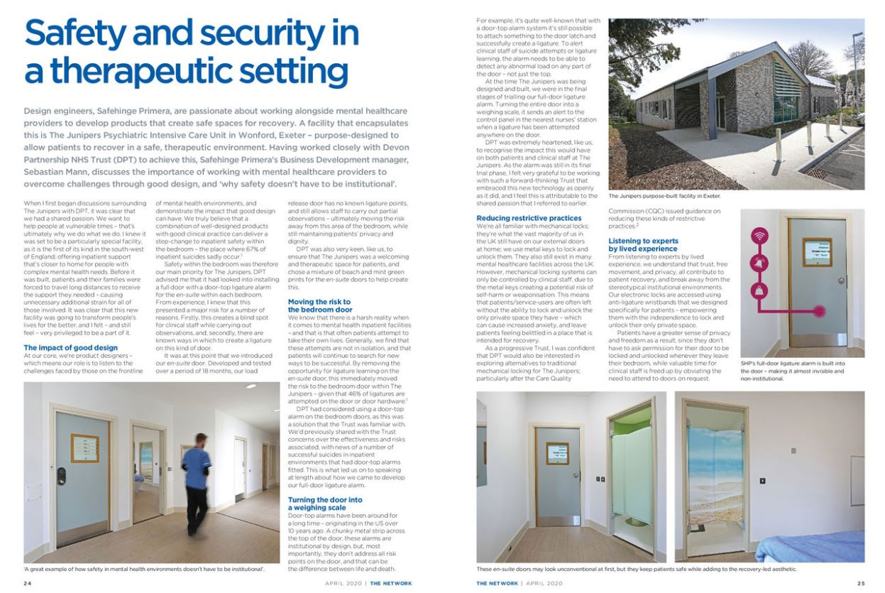 The Network feature: 'Safety and security in a therapeutic setting'
