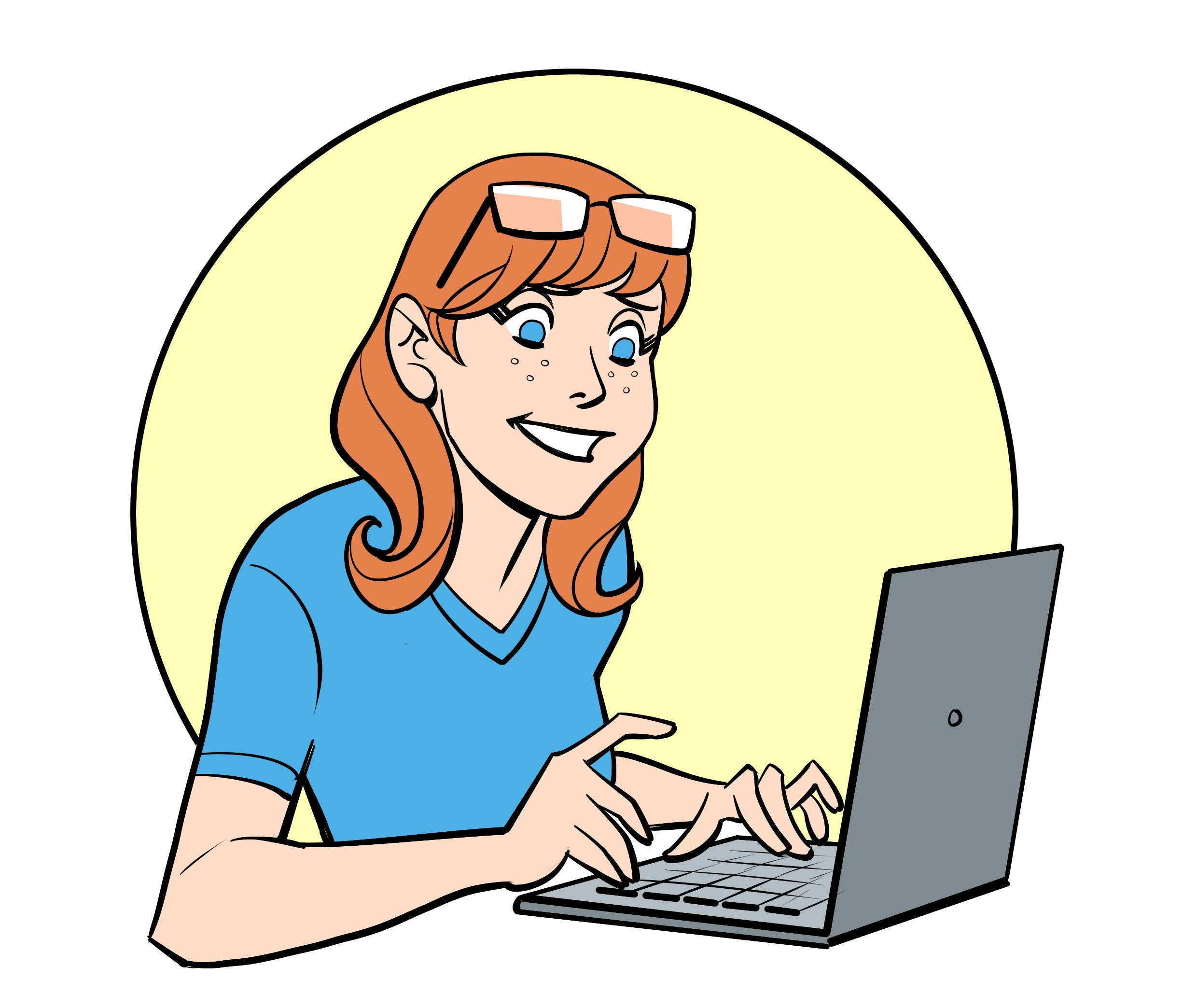 woman-writer-typing-cartoon