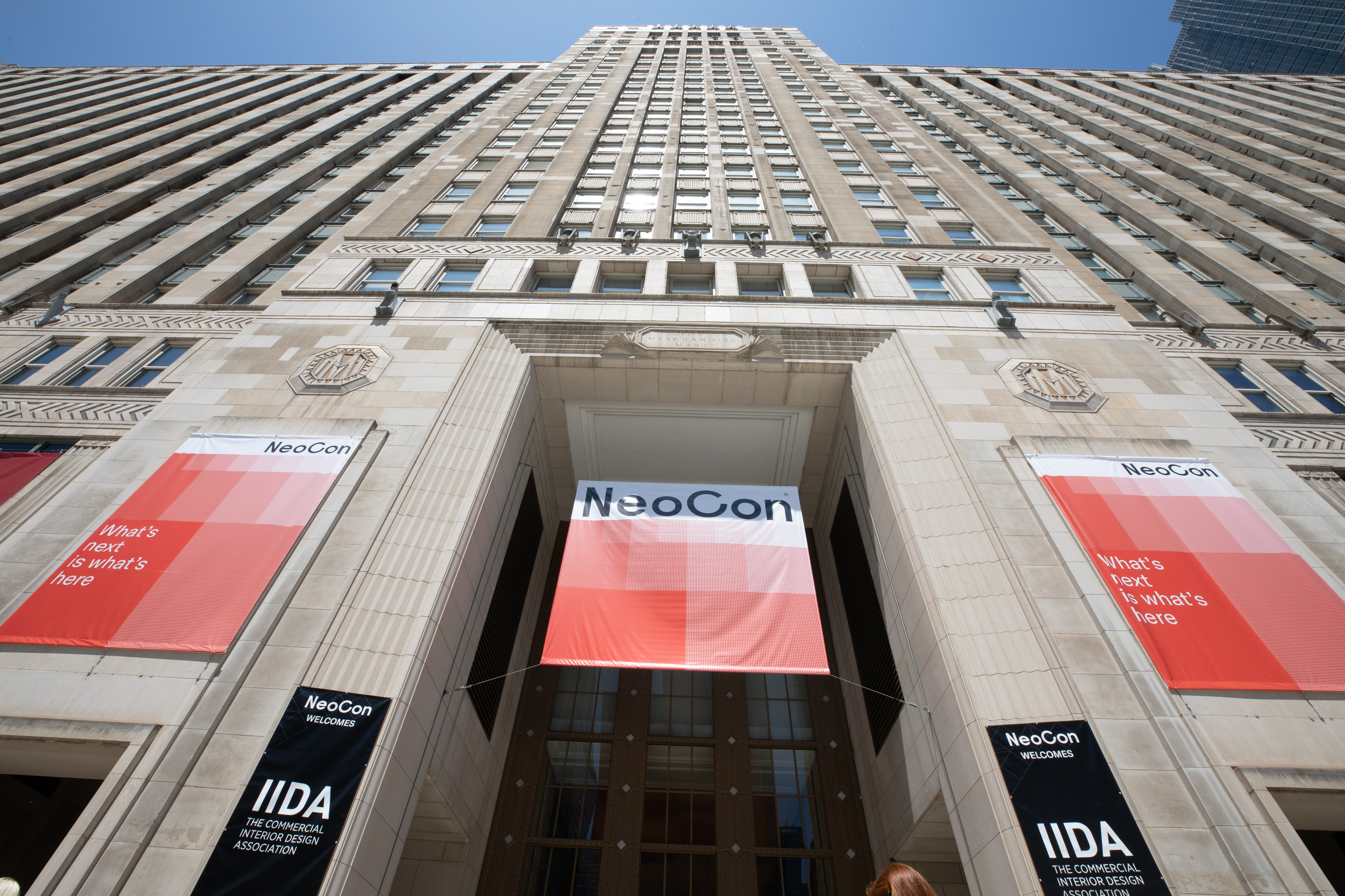 NeoCon banner on Merchandise Mart entrance