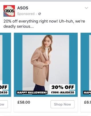 ASOS Facebook Halloween marketing campaign