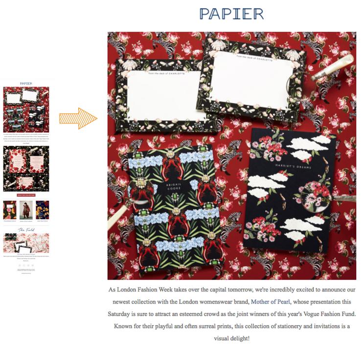 Papier ecommerce marketing email marketing LFW