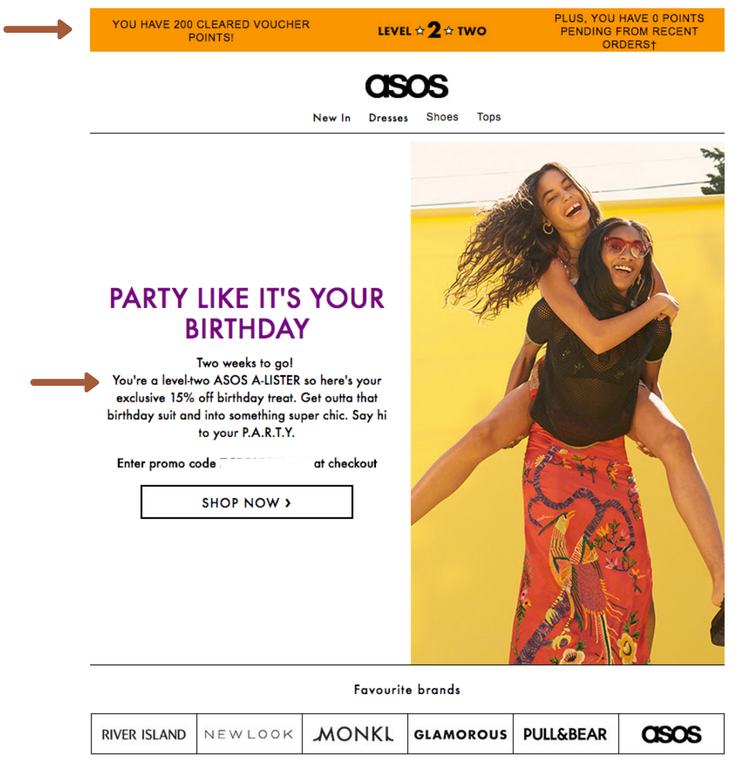 ASOS birthday email personalised by lifecycle stage