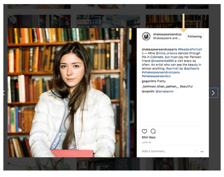 Shakespeare and company Instagram campaign