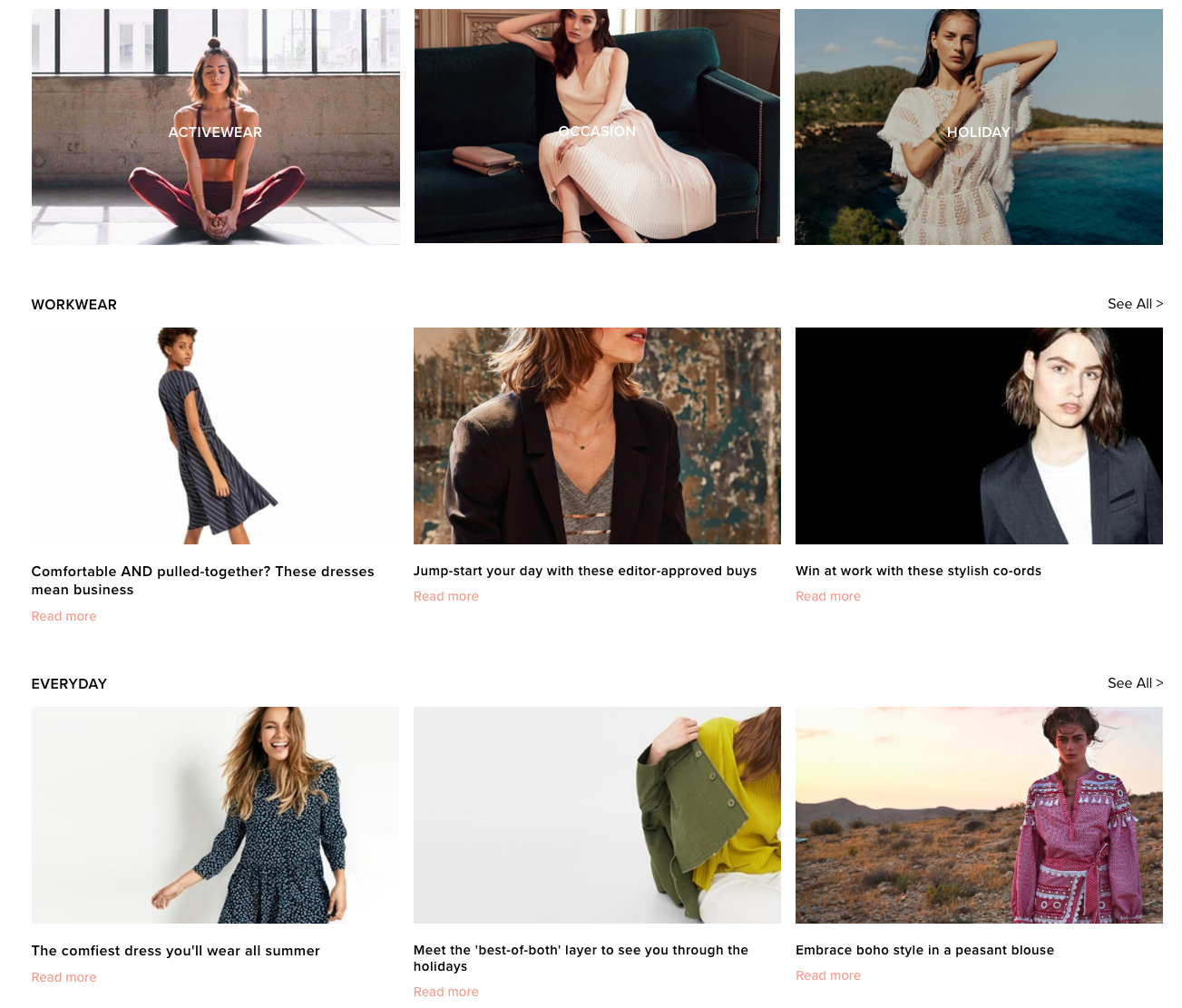 Endource editorial first ecommerce site inspiration section