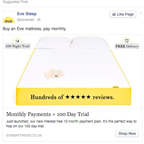 Eve Sleep Facebook marketing best practices