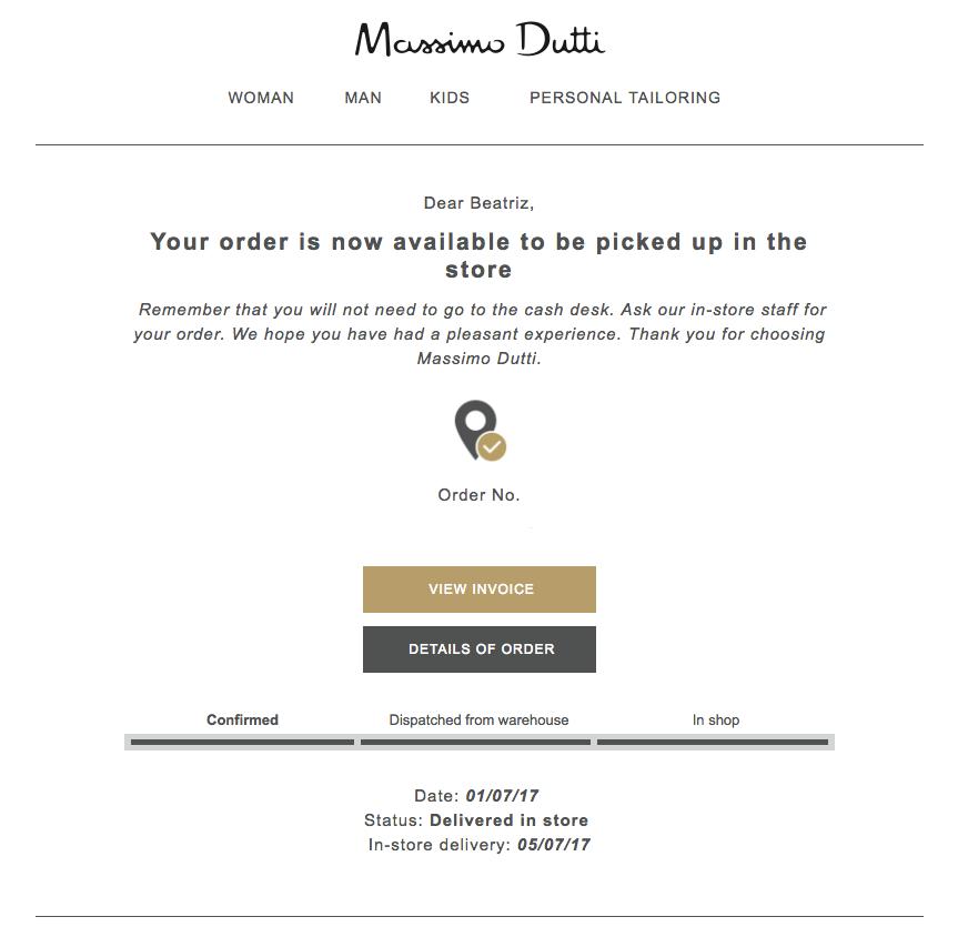 Massimo Dutti delivery confirmation